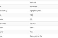 BALIKESİR SAVAŞTEPE AŞAĞI DANİŞMENTTE 1.679 M2 TARLA