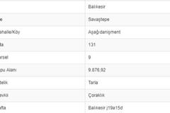 BALIKESİR SAVAŞTEPE AŞAĞI DANİŞMENTTE 9.876 M2 TARLA