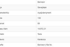 BALIKESİR SAVAŞTEPE AŞAĞI DANİŞMENTTE 14.972 M2 TARLA