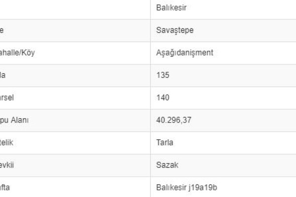 BALIKESİR SAVAŞTEPE AŞAĞI DANİŞMENTTE 40.296 M2 TARLA