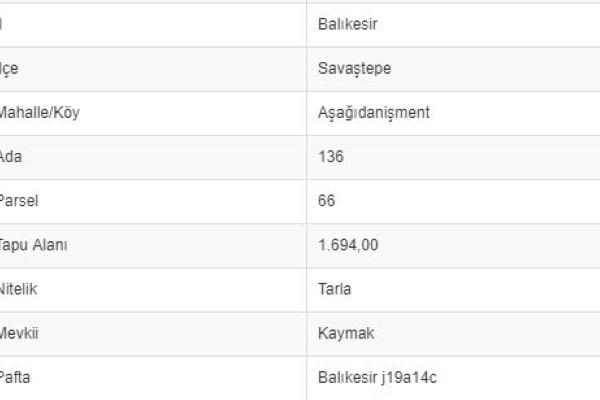 BALIKESİR SAVAŞTEPE AŞAĞI DANİŞMENTTE 1.694 M2 TARLA