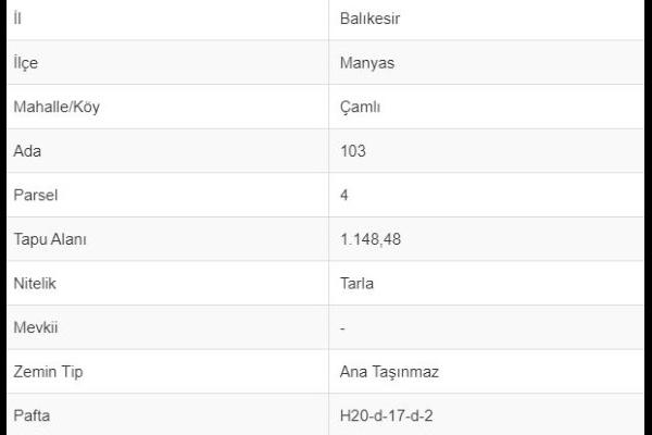 BALIKESİR MANYASDA 1148 M2 TARLA